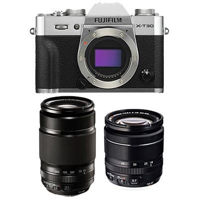 Save £300 at WEX Photo Video on Fujifilm X-T30 Digital Camera with XF 18-55mm + XF 55-200mm Lens - Silver