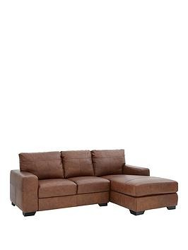 Save £190 at Very on Hampshire 3 Seater Right Hand Premium Leather Corner Chaise Sofa