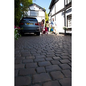 Save £100 at Wickes on Marshalls Drivesys Textured Original Cobble Driveway Block Paving Pack Mixed Size - Iron Grey 5.46 m2