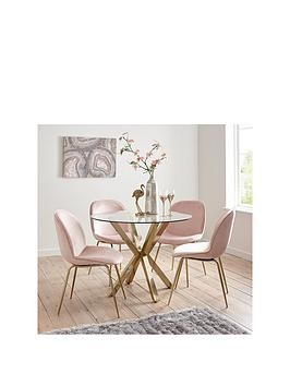 Save £100 at Very on Michelle Keegan Home Chopstick 100Cm Round Brass Dining Table + 4 Penny Velvet Chairs - Brass/Pink