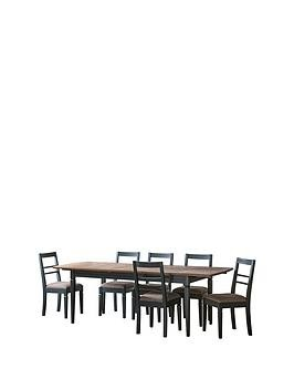 Save £200 at Very on Hudson Living Bronte 186 - 236 Cm Extending Dining Table And 6 Chairs - Blue