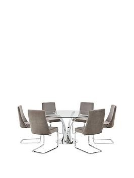 Save £100 at Very on Alice 130 Cm Round Dining Table + 6 Velvet Chairs - Clear/Grey
