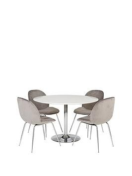 Save £100 at Very on Trumpet 116.5 Cm Dining Table + 4 Penny Velvet Chairs