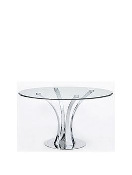 Save £50 at Very on Alice 130 Cm Round Clear Glass And Chrome Dining Table