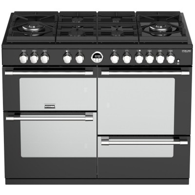 Save £162 at Appliance City on Stoves STERLING DX S1100DFGTGBK-EX DISPLAY Ex Display 44953 110cm Gas On Glass Dual Fuel Range Cooker - BLACK