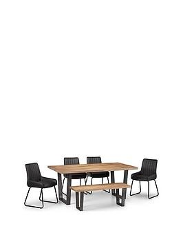 Save £200 at Very on Julian Bowen Brooklyn 180 Cm Dining Table + 4 Soho Chairs + Bench