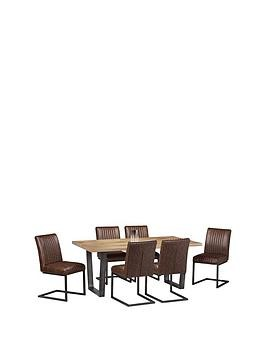Save £200 at Very on Julian Bowen Brooklyn 180 Cm Solid Oak And Metal Dining Table + 6 Chairs