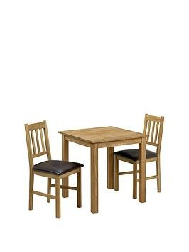 Save £40 at Very on Julian Bowen Coxmoor 75 X 75 Cm Square Solid Oak Dining Table + 2 Chairs