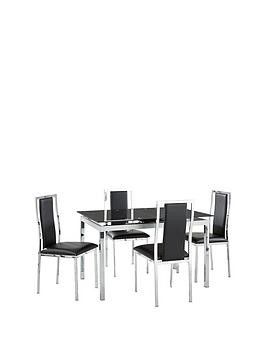 Save £50 at Very on Glide Glass And Chrome 120-150 Cm Extending Dining Table + 4 Atlantic Chairs - Black