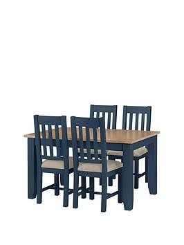 Save £100 at Very on Julian Bowen Richmond 140 - 180 Cm Extending Solid Wood And Veneer Dining Table + 4 Chairs - Midnight Blue