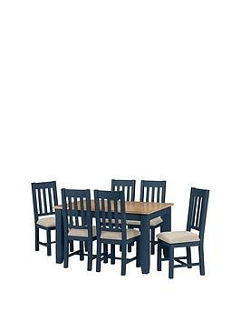 Save £100 at Very on Julian Bowen Richmond 140 - 180 Cm Extending Oak Dining Table + 6 Chairs - Midnight Blue