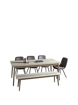 Save £300 at Very on Hudson Living Milano 200 - 252 Cm Extending Dining Table + 1 Bench + 4 Newton Chairs