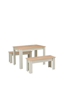 Save £20 at Very on Cornwall 120 Cm Dining Table And 2 Benches - Grey/Oak Effect