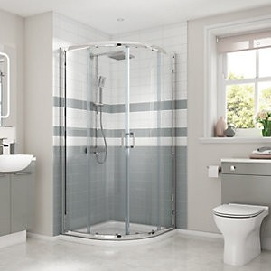 Save £36 at Wickes on Wickes 900 x 900mm - Quadrant Semi Frameless Sliding Shower Enclosure - Chrome
