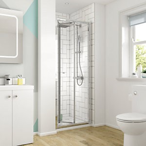 Save £59 at Wickes on Wickes 760mm - Square Bi-Fold Semi Frameless Recess Cubicle Shower Door - Chrome