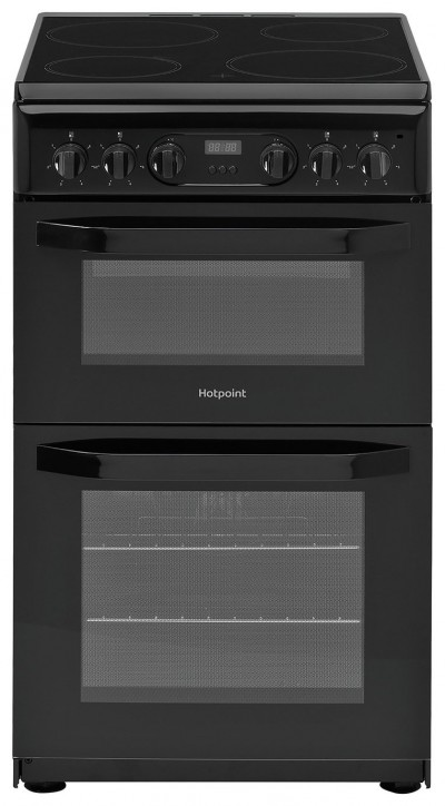 Save £50 at Argos on Hotpoint HD5V93CCB 50cm Double Oven Electric Cooker - Black