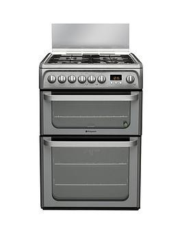 Save £50 at Very on Hotpoint Ultima Hud61Gs 60Cm Double Oven Dual Fuel Cooker With Gas Hob - Graphite