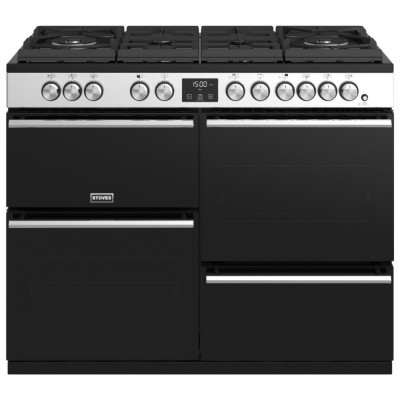 Save £300 at Appliance City on Stoves PREC DX S1100DFGTGSS Precision Deluxe 110cm Gas On Glass Dual Fuel Range Cooker 10754 - STAINLESS STEEL