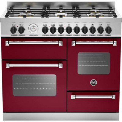 Save £680 at AO on Bertazzoni Master Series MAS100-6-MFE-T-VIE 100cm Dual Fuel Range Cooker - Burgundy - A/A Rated