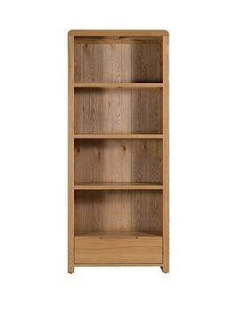 Save £50 at Very on Julian Bowen Newman Curve Ready Assembled Solid Oak And Oak Veneer Bookcase