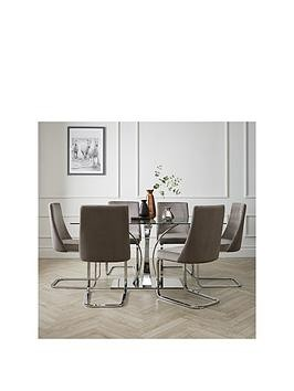 Save £100 at Very on Alice 160 Cm Rectangle Glass And Chrome Dining Table + 6 Velvet Chairs