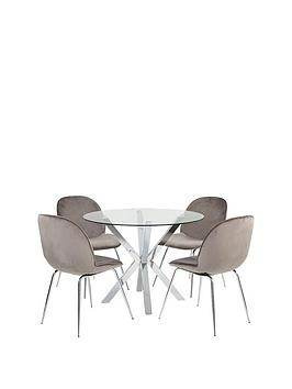 Save £60 at Very on Chopstick 100 Cm Glass Top Round Dining Table + 4 Penny Velvet Chairs