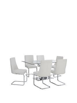 Save £100 at Very on Alice Rectangle Dining Table + 6 Faux Leather Chairs - Clear/White