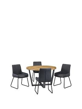 Save £100 at Very on Julian Bowen Brooklyn 120 Cm Solid Oak And Metal Round Dining Table + 4 Soho Chairs