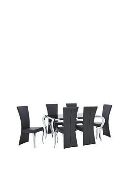 Save £100 at Very on Boutique 163 Cm Dining Table + 6 Chairs (Arrives In One Delivery)