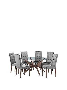 Save £100 at Very on Julian Bowen Chelsea 140 Cm Round Glass Dining Table + 6 Madrid Chairs