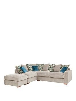 Save £290 at Very on Miller Fabric Left Hand Corner Chaise Scatter Back Sofa With Footstool And Sofa Bed