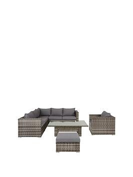 Save £200 at Very on Aruba 6-Seater Corner Sofa Set With Chair, Footstool And Adjustable Table Garden Furniture