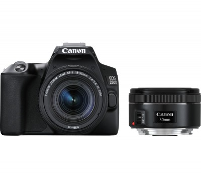 Save £100 at Currys on Canon EOS 250D DSLR Camera with EF-S 18-55 mm f/3.5-5.6 III & EF 50 mm f/1.8 STM Lens, Black