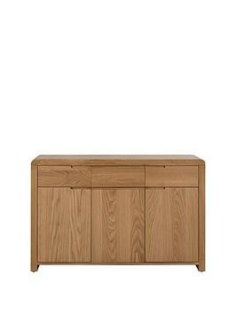 Save £50 at Very on Julian Bowen Newman Curve Ready Assembled Solid Oak And Oak Veneer Sideboard
