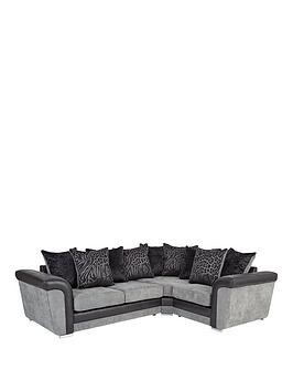 Save £190 at Very on Manhattan Fabric And Faux Snakeskin Right Hand Double Arm Corner Group Sofa