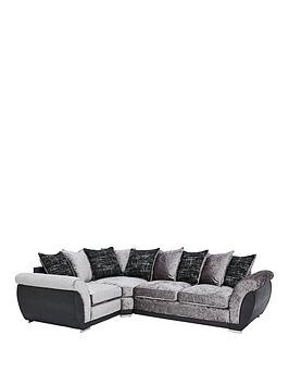 Save £100 at Very on Alexa Fabric And Faux Leather Left Hand Scatter Back Corner Group Sofa