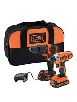 Save £36 at Very on Black & Decker 18V Lithium Ion Twin Pack Kit With 18V Hammer Drill, 18V Impact Driver, 2X 1.5Ah Batteries, Charger  Softbag