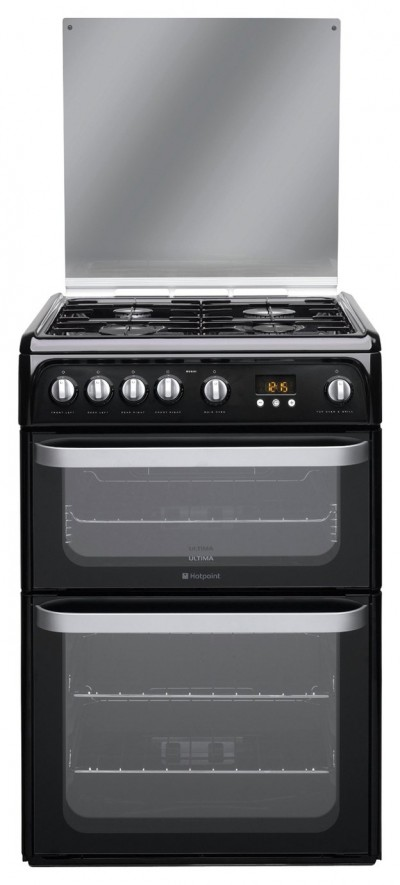 Save £70 at Argos on Hotpoint HUG61K 60cm Double Oven Gas Cooker - Black