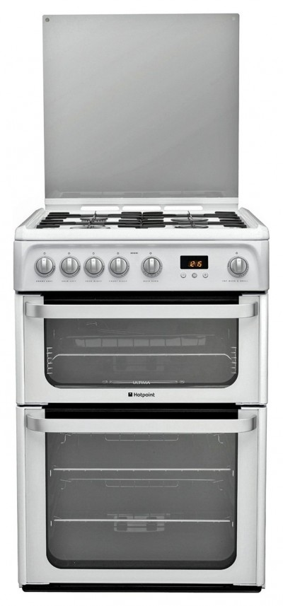 Save £70 at Argos on Hotpoint HUG61P 60cm Double Oven Gas Cooker - White