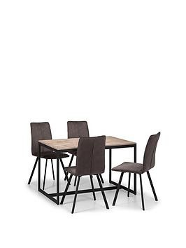 Save £80 at Very on Julian Bowen Tribeca 120 Cm Dining Table + 4 Monroe Chairs