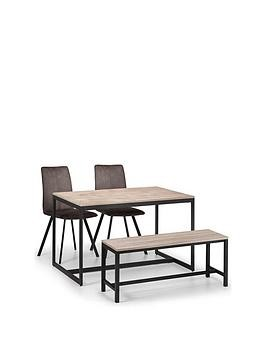 Save £50 at Very on Julian Bowen Tribeca 120 Cm Dining Table + 2 Monroe Chairs + Bench