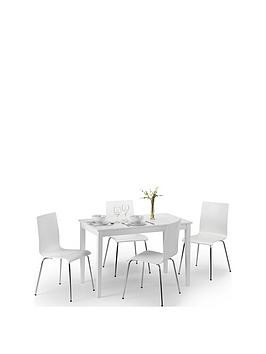 Save £40 at Very on Julian Bowen Set Of Taku Dining Table & 4 Mandy White Chairs