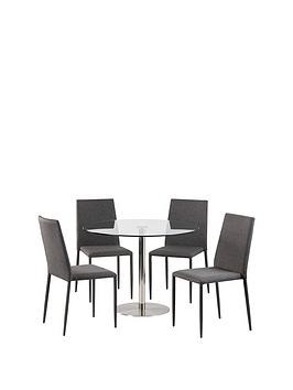 Save £70 at Very on Julian Bowen Milan 100 Cm Round Dining Table + 4 Jazz Grey Chairs