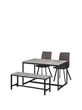 Save £30 at Very on Julian Bowen Staten 120 Cm Dining Table + Bench + 2 Monroe Chairs
