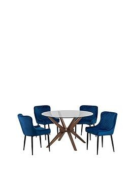 Save £80 at Very on Julian Bowen Chelsea 120 Cm Round Dining Table + 4 Luxe Blue Chairs