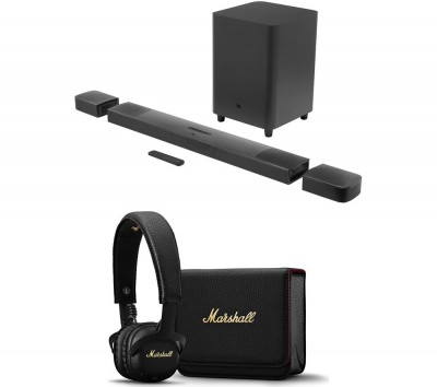 Save £100 at Currys on JBL Bar Wireless Sound Bar & Mid A.N.C Wireless Headphones Bundle, Black