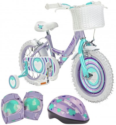Save £10 at Argos on Pedal Pals Violet Hearts 14 inch Bike, Helmet & Knee Pads