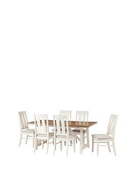 Save £70 at Very on Julian Bowen Pembroke 180 Cm Solid Wood And Oak Veneer Dining Table + 6 Chairs