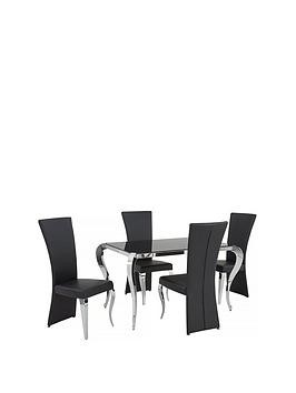 Save £48 at Very on Boutique 139 Cm Glass Dining Table + 4 Chairs