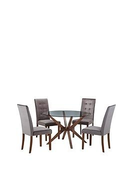 Save £47 at Very on Julian Bowen Chelsea 120 Cm Round Glass Dining Table + 4 Madrid Chairs